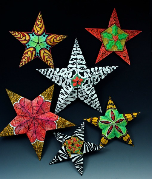 Zentangled Christmas Stars